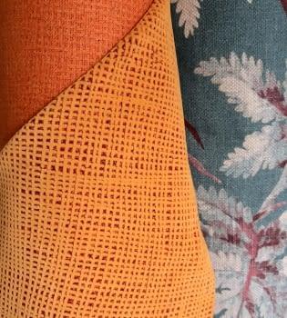 Tela tapicería Yute naranja