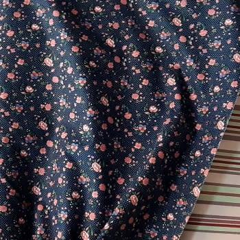 Tela azul florecitas rosas 140 - 1
