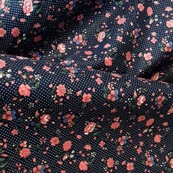 Tela azul florecitas rosas 140 - 3