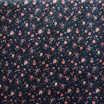 Tela azul florecitas rosas 140 - 5