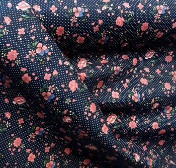 Tela azul florecitas rosas 140 - 6