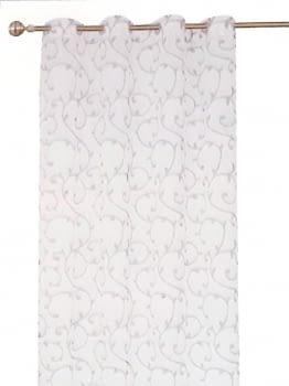 1 visillo blanco adamascado gris - 3