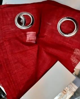 1 Visillo confeccionado rojo trama - 2