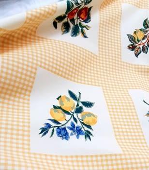 Tela algodón frutas amarillo - 5