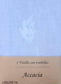 Visillos bordados azul presillas