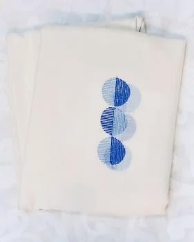2 Visillos confeccionados círculos azul