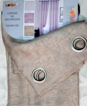 Visillos confeccionados beige lino