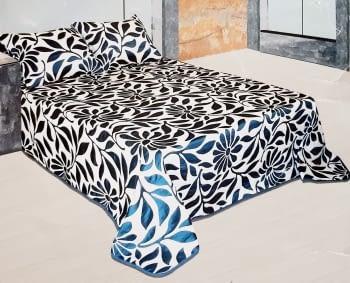 Colcha reversible hojas azul cama 90