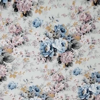Tela rasina gris flores azules 280