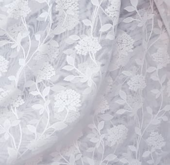 Tela visillo encaje malla blanco