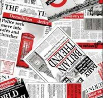 Tela loneta periódicos rojo 280