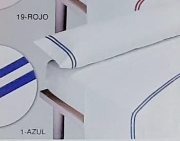 Juego de sábanas con raya azul - 1