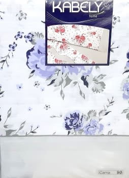 Juego de sábanas flores azul