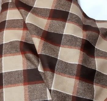 Tela lana cuadros marrón 150