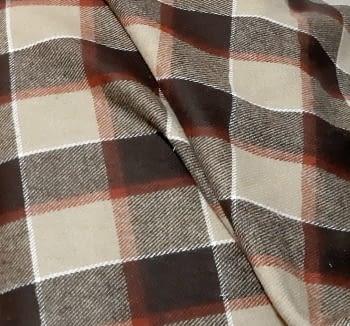 Tela lana cuadros marrón 150 - 1