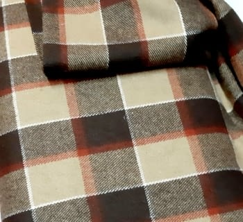 Tela lana cuadros marrón 150 - 2