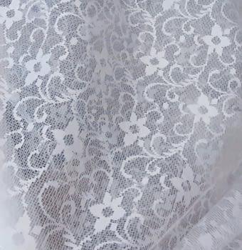 Tela visillo encaje blanco flores 140