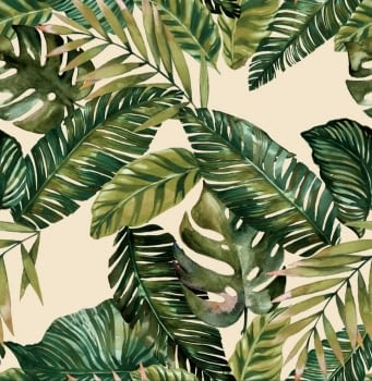 Tela loneta lino hojas verdes 280