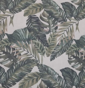 Tela loneta beige hojas verdes 280