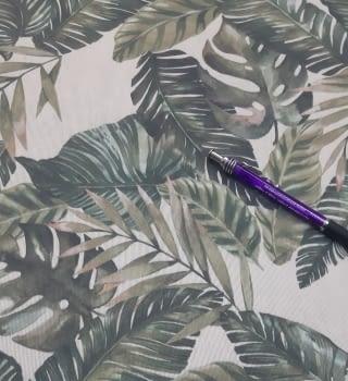 Tela loneta beige hojas verdes 280 - 1