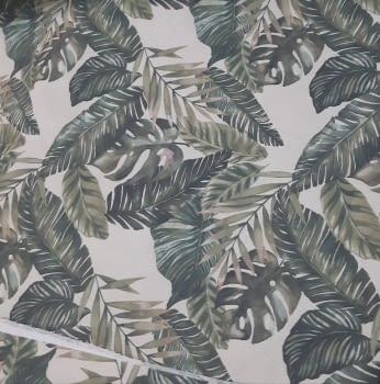 Tela loneta beige hojas verdes 280 - 2