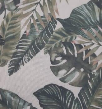 Tela loneta beige hojas verdes 280 - 5