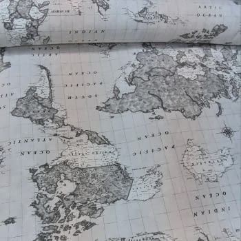 Tela loneta mapa mundi gris 280