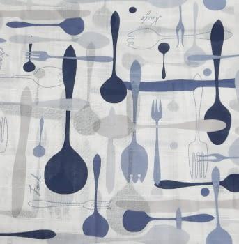 Tela visillo cocina cubiertos azul