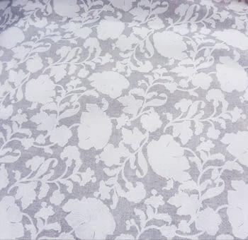 Tela loneta gris flor Blanca 280