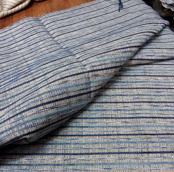 Tela tapicería rayitas azul