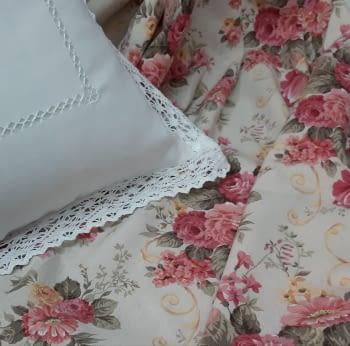 Tela loneta flor rosa 1,10 x 2,80