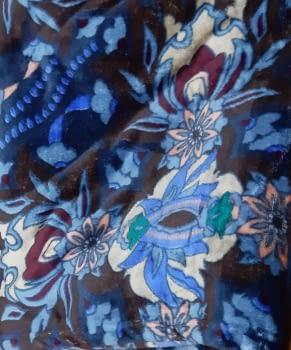 Manta sofá coralina flores azul - 2
