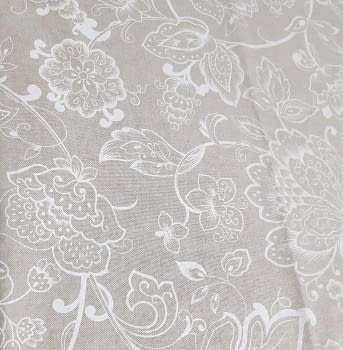 Tela lino flores blancas 280 - 1