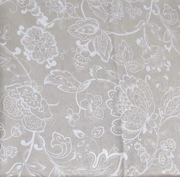 Tela lino flores blancas 280 - 3