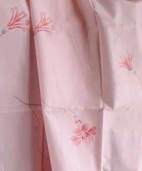Cortina baño rosa flores 140 x 180 cm
