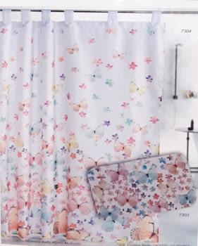Cortina baño mariposas