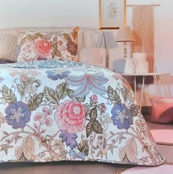 Colcha bouti flor oriental  cama 90