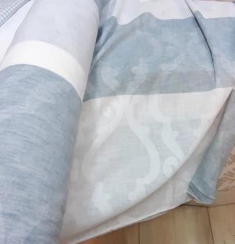 Tela visillo adamascado rayas azul 300
