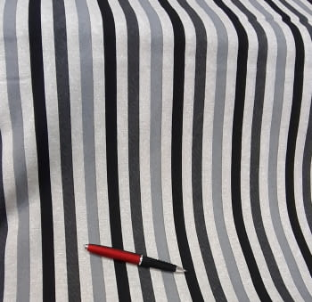 Tela loneta rayas gris negro 280 - 2