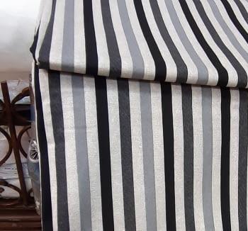 Tela loneta rayas gris negro 280 - 3