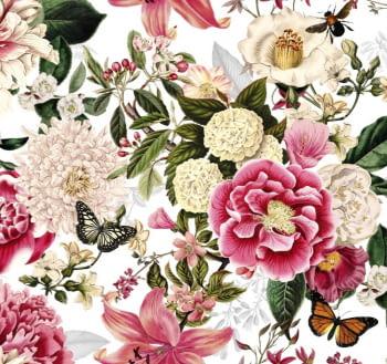 Tela flores fuxias mariposas