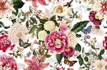 Tela flores fuxias mariposas - 1