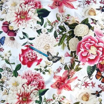 Tela flores fuxias mariposas - 2