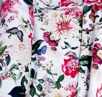 Tela flores fuxias mariposas - 3