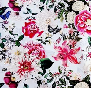 Tela flores fuxias mariposas - 4