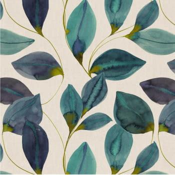 Tela loneta hojas turquesa