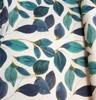 Tela loneta hojas turquesa - 1