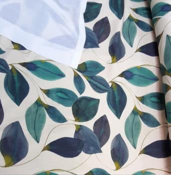 Tela loneta hojas turquesa - 2