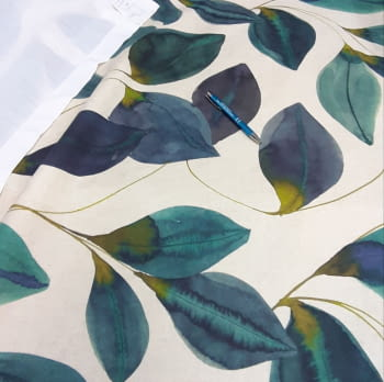 Tela loneta hojas turquesa - 3