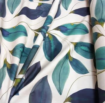 Tela loneta hojas turquesa - 4
